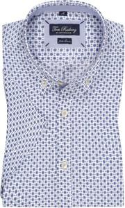 Niebieska koszula Tom Rusborg z krótkim rękawem z lnu