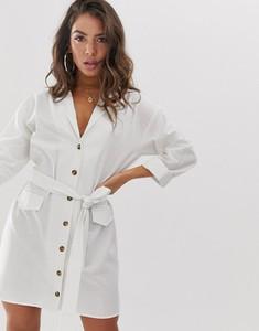 Sukienka Asos Design koszulowa z długim rękawem z lnu