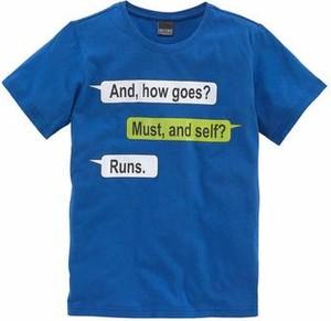Niebieska koszulka dziecięca arizona z krótkim rękawem z napisami