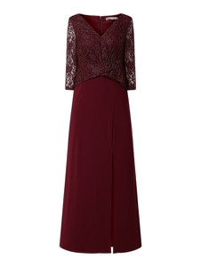 Sukienka Christian Berg Cocktail maxi baskinka z dekoltem w kształcie litery v