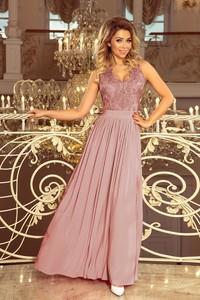 Różowa sukienka NUMOCO maxi rozkloszowana