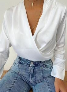 Bluzka Arilook z dekoltem w kształcie litery v z bawełny