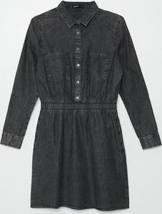 Czarna sukienka Cropp z jeansu z kołnierzykiem mini