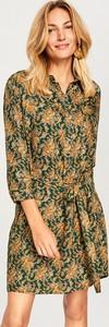 Zielona sukienka Reserved z długim rękawem mini szmizjerka