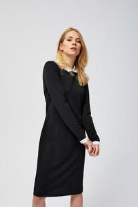 Czarna sukienka Moodo z długim rękawem ołówkowa