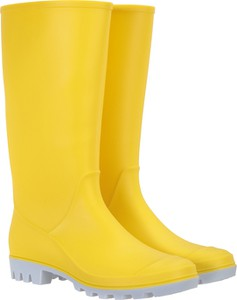 Żółte kalosze Mountain Warehouse z płaską podeszwą ze skóry