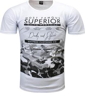 T-shirt Recea w militarnym stylu z krótkim rękawem