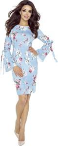 Niebieska sukienka Nubile z długim rękawem z okrągłym dekoltem w stylu casual