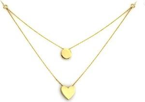 Lovrin Złoty naszyjnik 585 podwójny łańcuszek kółeczko serce