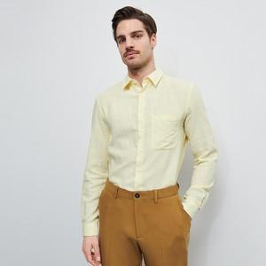 Żółta koszula Reserved z długim rękawem z tkaniny