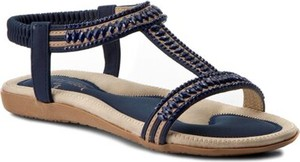Granatowe sandały Jenny Fairy w stylu casual z klamrami