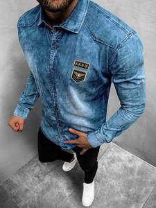 Niebieska koszula ozonee.pl z długim rękawem z bawełny z klasycznym kołnierzykiem