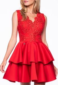 Czerwona sukienka Premiera Dona mini z tiulu