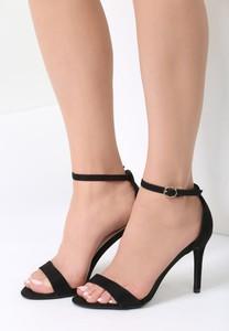 Czarne sandały renee z klamrami w stylu klasycznym na szpilce