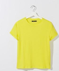 Żółty t-shirt Mohito z krótkim rękawem z okrągłym dekoltem w stylu casual