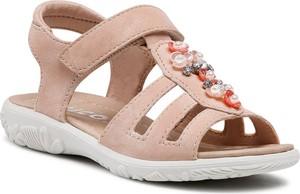 Różowe buty dziecięce letnie Ricosta na rzepy dla dziewczynek
