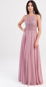 Sukienka Butik Ecru rozkloszowana bez rękawów z dekoltem halter