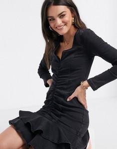 Czarna sukienka River Island mini z jeansu z długim rękawem
