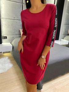 Czerwona sukienka ModnaKiecka.pl mini sportowa z długim rękawem