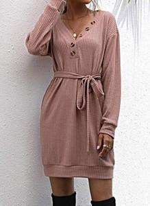 Różowa sukienka Cikelly w stylu casual mini
