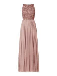 Różowa sukienka Lace & Beads bez rękawów z okrągłym dekoltem maxi