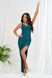Sukienka Katniss dopasowana z dekoltem w kształcie litery v maxi