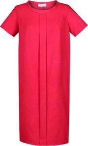 Czerwona sukienka Fokus z okrągłym dekoltem z lnu