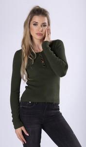 Zielona bluzka Ptakmoda.com z długim rękawem z bawełny