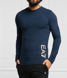 Niebieska koszulka z długim rękawem Emporio Armani z bawełny z długim rękawem
