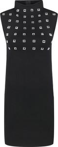 Czarna sukienka Pinko z golfem mini bez rękawów