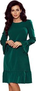 Zielona sukienka NUMOCO oversize z okrągłym dekoltem z długim rękawem