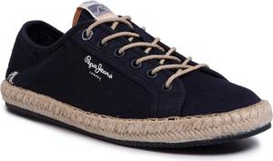 Granatowe buty letnie męskie Pepe Jeans sznurowane