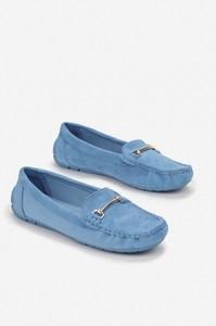 Niebieskie buty Esclusivo z płaską podeszwą
