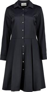 Czarna sukienka Lavard mini z kołnierzykiem koszulowa