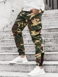 Zielone spodnie ozonee.pl z bawełny w militarnym stylu