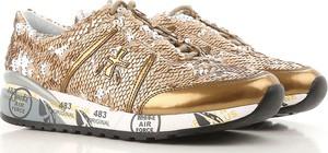 Złote buty sportowe Premiata sznurowane w młodzieżowym stylu na platformie