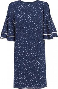 Granatowa sukienka L'AF z krótkim rękawem