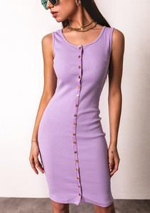 Fioletowa sukienka Latika mini z okrągłym dekoltem z bawełny