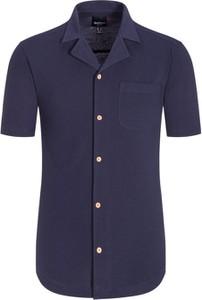 Granatowa koszula North 56°4 z krótkim rękawem z bawełny