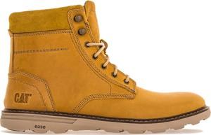 Żółte buty zimowe Caterpillar ze skóry w street stylu