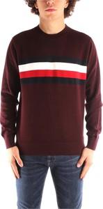 Brązowy sweter Tommy Hilfiger z okrągłym dekoltem w młodzieżowym stylu z dzianiny
