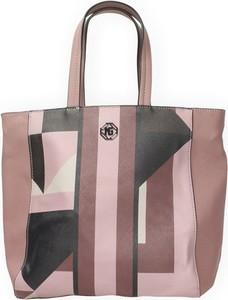 Różowa torebka Marina Galanti ze skóry ekologicznej na ramię z nadrukiem