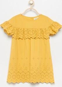 Żółta sukienka dziewczęca Reserved z bawełny
