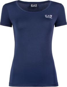 Niebieski t-shirt EA7 Emporio Armani z krótkim rękawem z okrągłym dekoltem