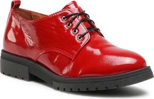 Czerwone półbuty Oleksy ze skóry w stylu casual sznurowane