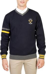 Granatowy sweter Oxford University z wełny