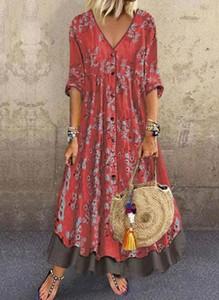 Sukienka Cikelly z długim rękawem z dekoltem w kształcie litery v maxi