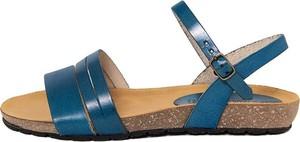 Niebieskie sandały Piemme Shoes z klamrami ze skóry