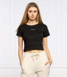 Czarny t-shirt Calvin Klein z krótkim rękawem z okrągłym dekoltem
