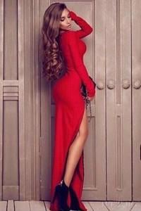 Sukienka Ivet.pl z długim rękawem maxi